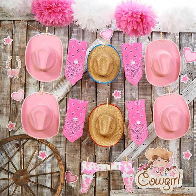 """Our Pink Cowgirl party supplies are all about horsepower! This party theme is perfect for girls that love showing the boys """"anything you can..."""