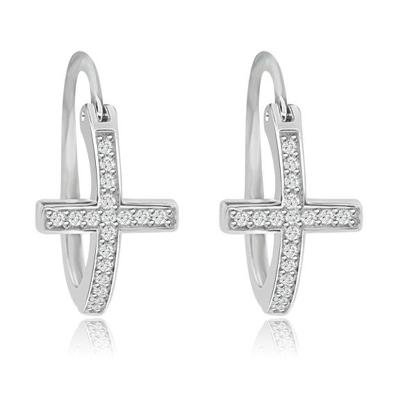 Sterling Silver Rhodium Plated Cubic Zirconia Cross Hoop Earrings - Faith Religious