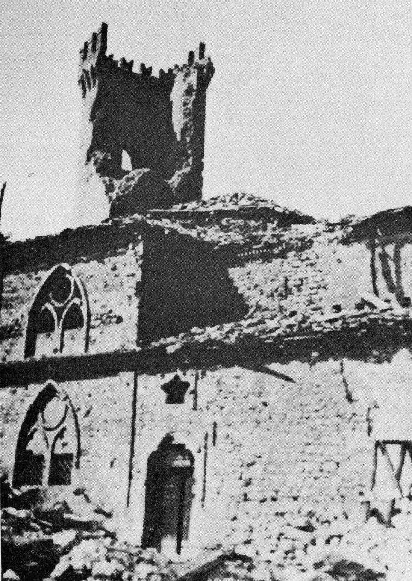 Montese - Church and tower destroyed after 1945 bombing