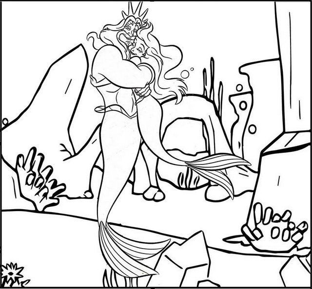 King Triton Hugging With Ariel The Little Mermaid Coloring Page