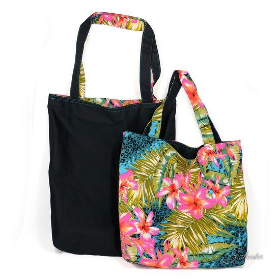Stoff, Stofftasche, Plastik vermeiden, nähen, Tasche, Shopper, 12monate12taschen, Wendetasche, schwar, bunt