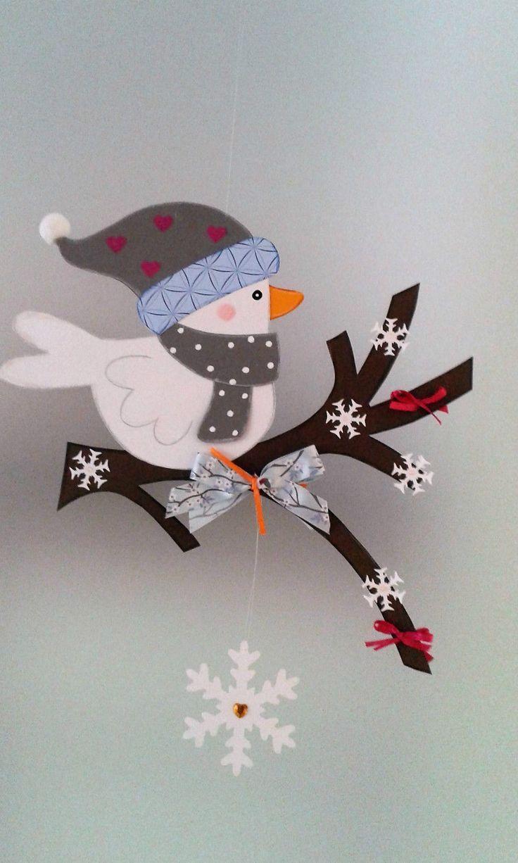 Cuadro de ventana – pájaro en la rama Invierno – Navidad – decoración – caja de arcilla   – Kunst Ideen