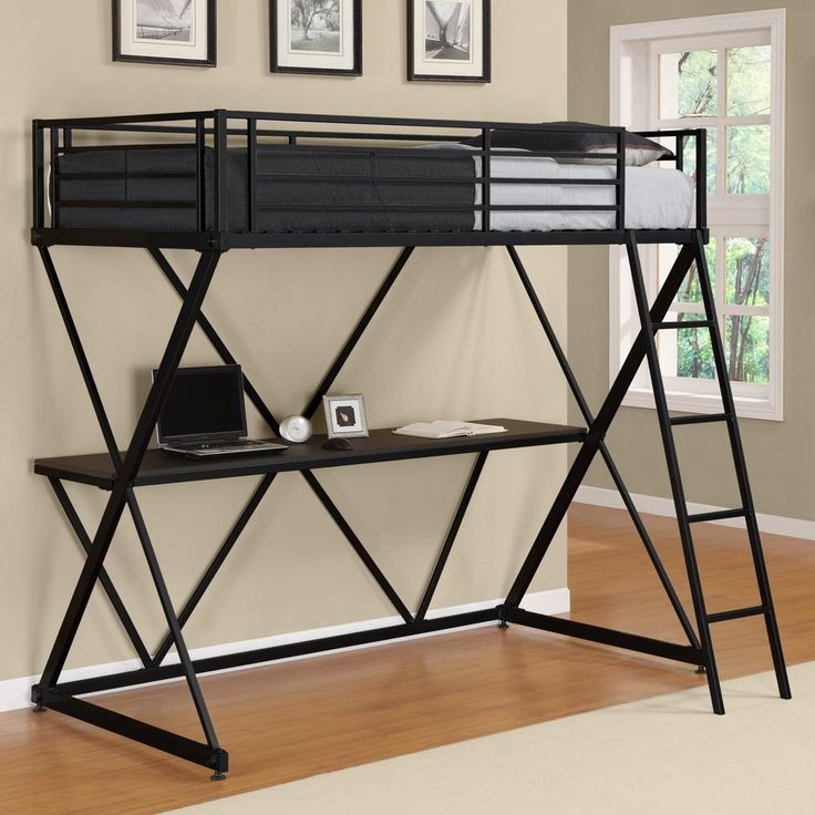 FYI: Loft Bed With Desk Metal Twin Guard Rails Ladder Kids Bedroom Space Saver Black