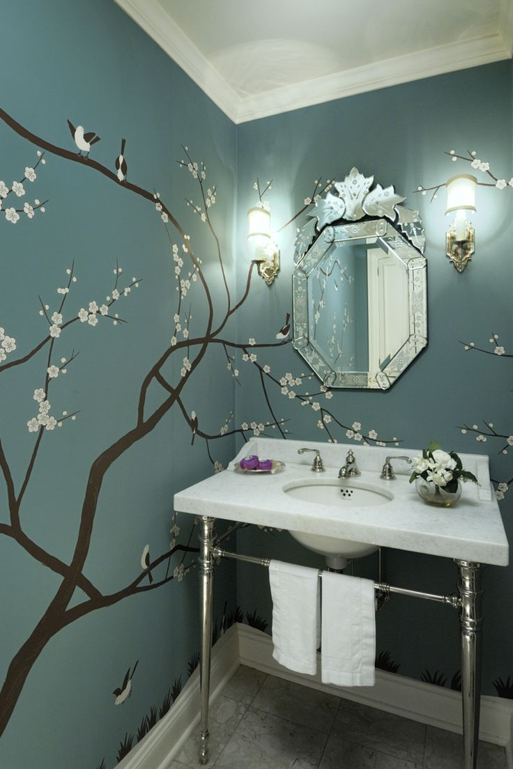 Bathroom mural ideas - A Cherry Tree Mural In A Washington Dc Powder Room Bathroom