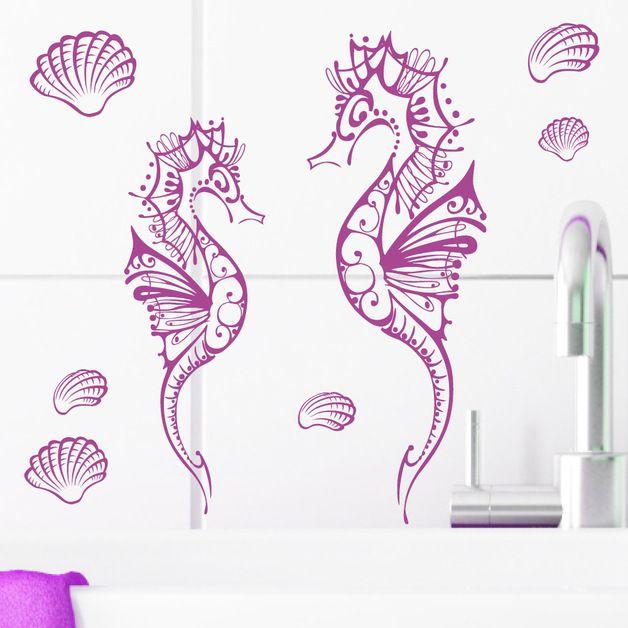 Superb Wandtattoo Zwei Fisch Seepferdchen Bad Muschel