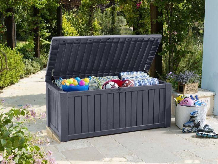 Antraciete opbergbox in de tuin voor tuinkussens en accessoires