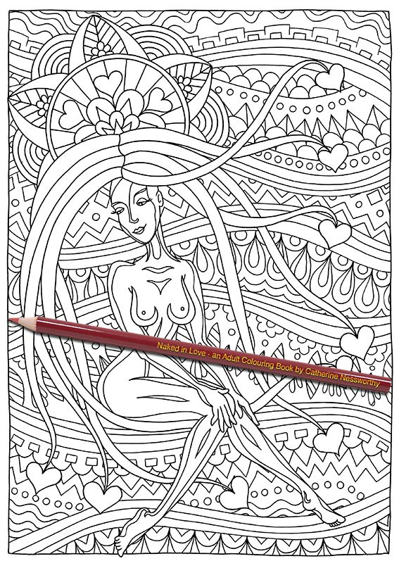 this intricate adult colouring page shows a nude beauty daydreaming about her lover from naked in love an adult colouring book by catherine nessworthy - Nude Coloring Book