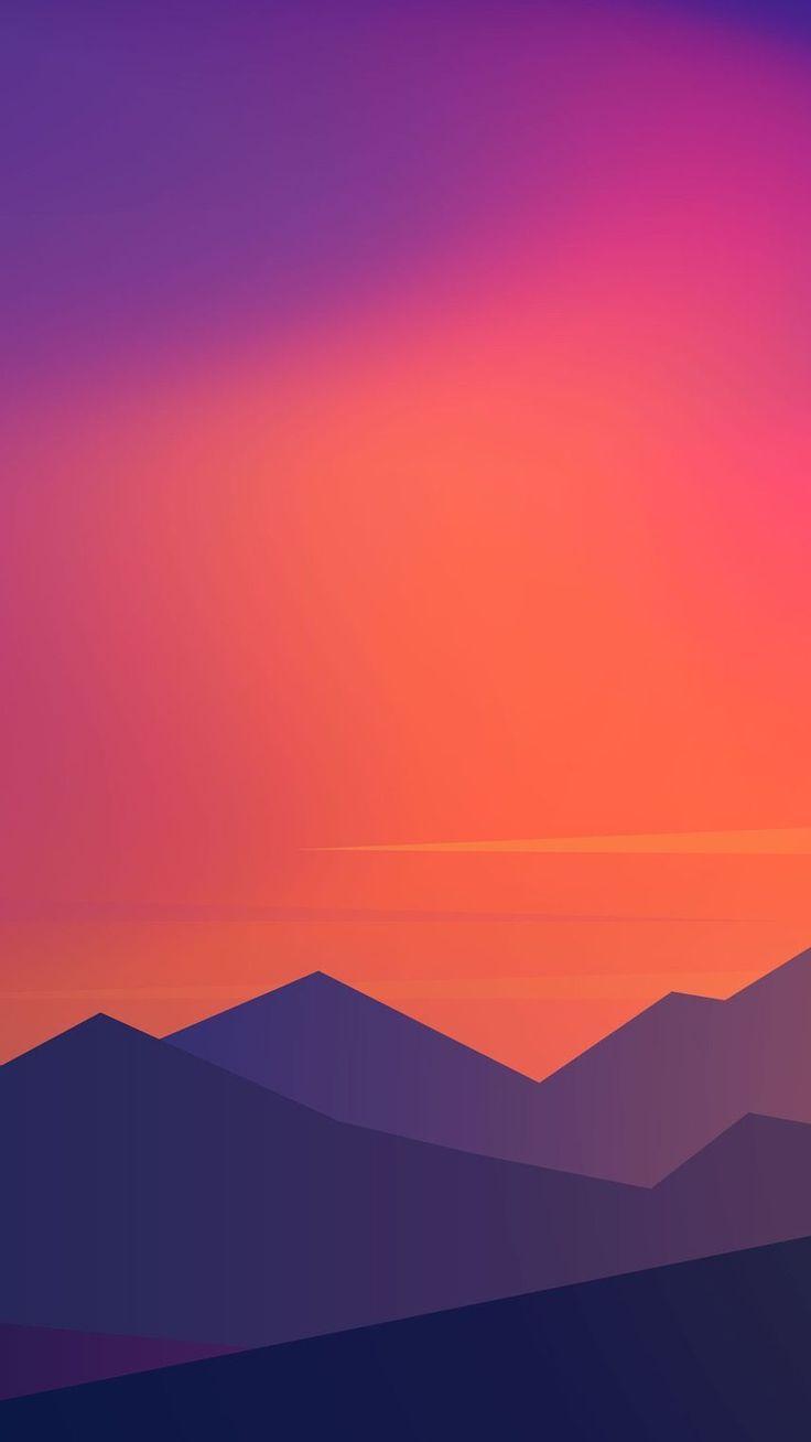 Sunset Minimal Mountains Iphone Wallpaper Simplistic Wallpaper Mkbhd Wallpapers Landscape Wallpaper