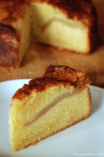 River Cottage pear and almond cake. A really good cake, not too sweet, and can be made with apples or pears.