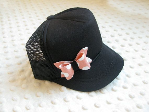 infant trucker hat with pink polka dot bow - infant mesh cap with pink and by TheMinis on Etsy