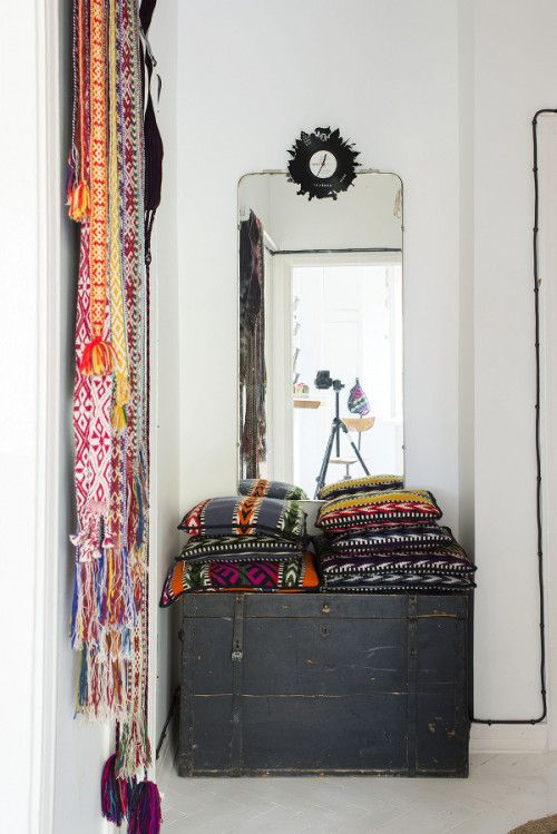 An Estonian Home Filled with Colorful Textiles. Simple, clean, eclectic,great patterns!-LZ