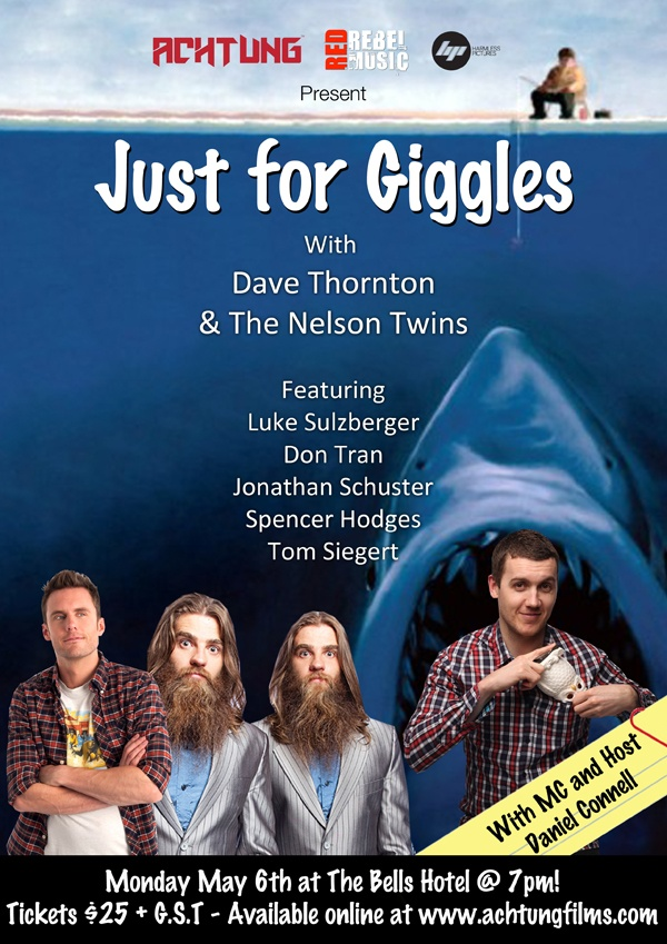 Our upcoming comedy fundraiser just for giggles!  Buy tickets online now in our shop at: www.achtungfilms.com