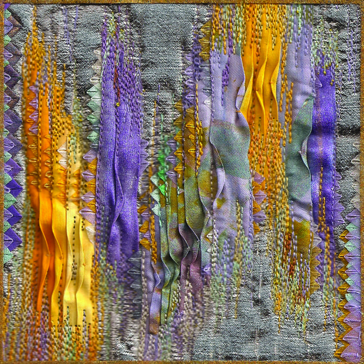 "Illumination # 37, 5"" x 5"" - one of the series of folded-silk stitched wall pieces at Ludmila Aristova's web gallery"