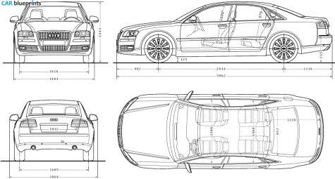 2009 Audi A8 D3 (Typ 4E) W12 Sedan blueprint