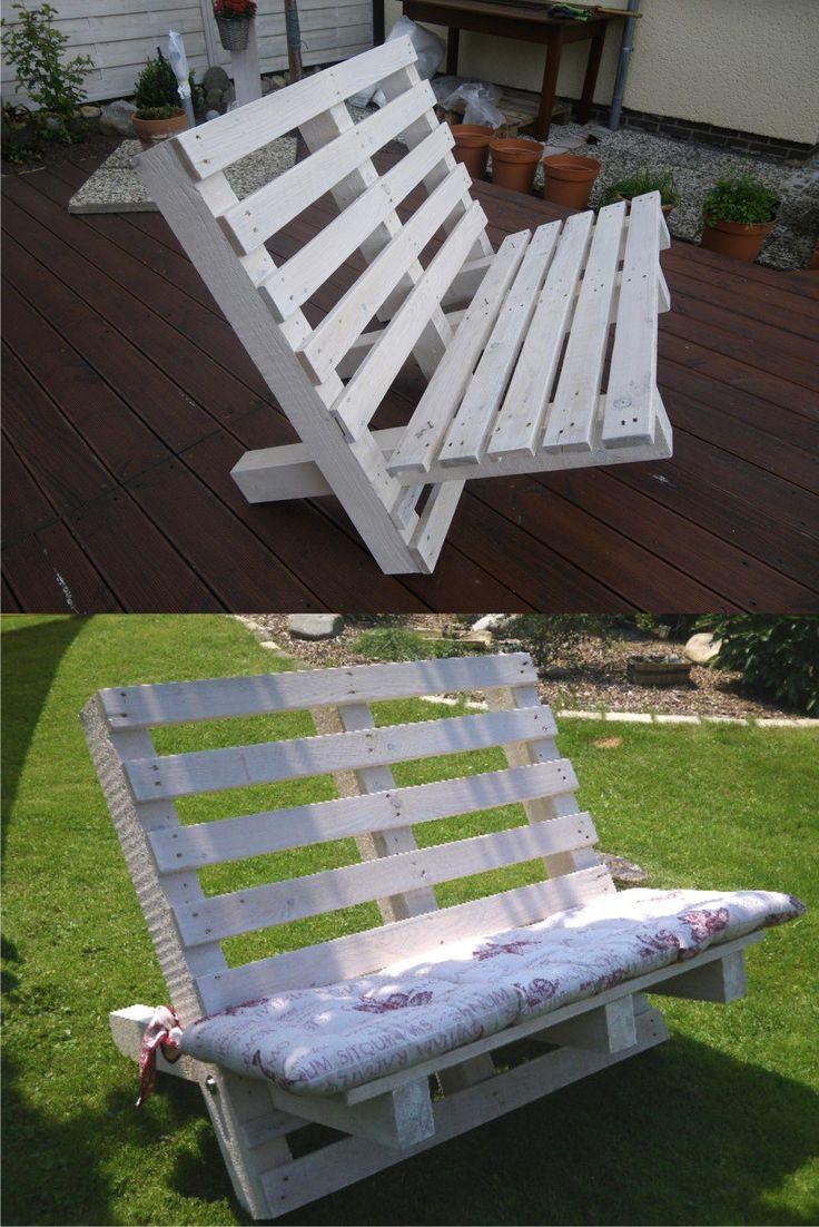 DIY Pallet Outdoor Sofa - filinebloggt.de - Banco DIY con palés