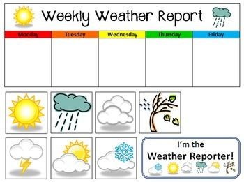 $3.00 Preschool Weekly Weather Report - This cute weather chart makes a great addition to any ECE circle time or science center. Includes 5 day chart, 7 weather icons, and student helper badge.