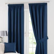 Navy Solar Blackout Pencil Pleat Curtains