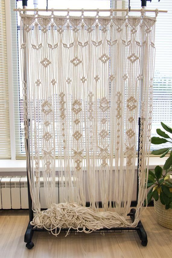 Large Macrame Curtain Macrame Door Curtain Macrame
