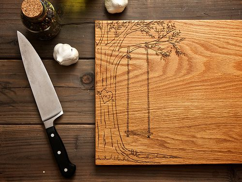 Personalized Carved Heart Engraved Wood Cutting Board - 12x16 - hostess gift - custom wedding or anniversary gift for foodie couple