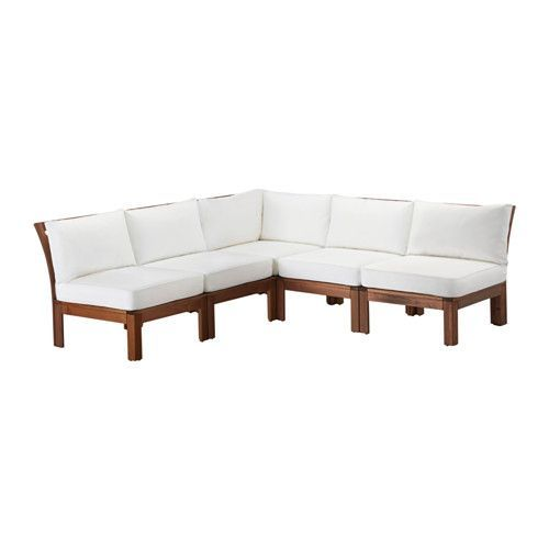 ÄPPLARÖ / KUNGSÖ 5-seat sectional, outdoor, brown stained, white brown stained/white