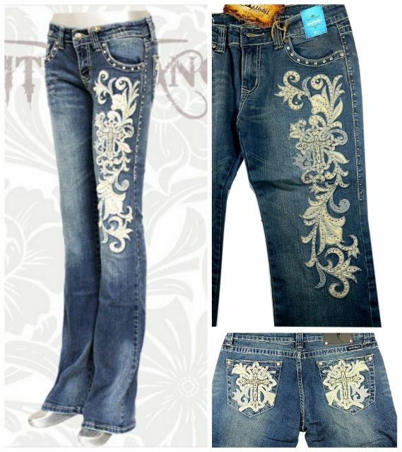 Montana West Bling Belts | MONTANA WEST JEANS Embroidered Beige Swirl n Cross Boot Cut Western ...