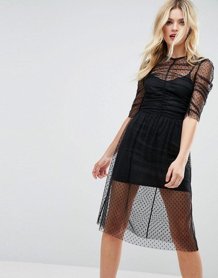 ASOS Ruched Midi Dress In Spot Mesh - Black