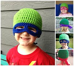 Turtle Hero-Superhero Hat/Mask (with mask only options included) crochet pattern. JUST in time for Halloween!