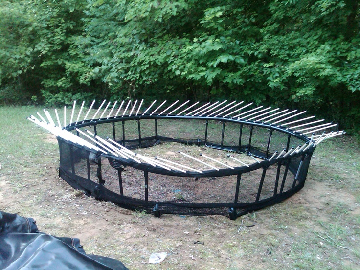 Beginning stage of assembly of a springless trampoline