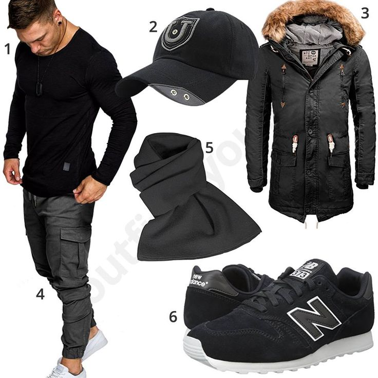 Lässiger Herren-Style mit Amaci&Sons Pullover und grauer Jogginghose, cooler Baseball Cap, schwarzem Solid Parka mit Kunstfellkragen, Strickschal und schwarzen New Balance Sneakern.