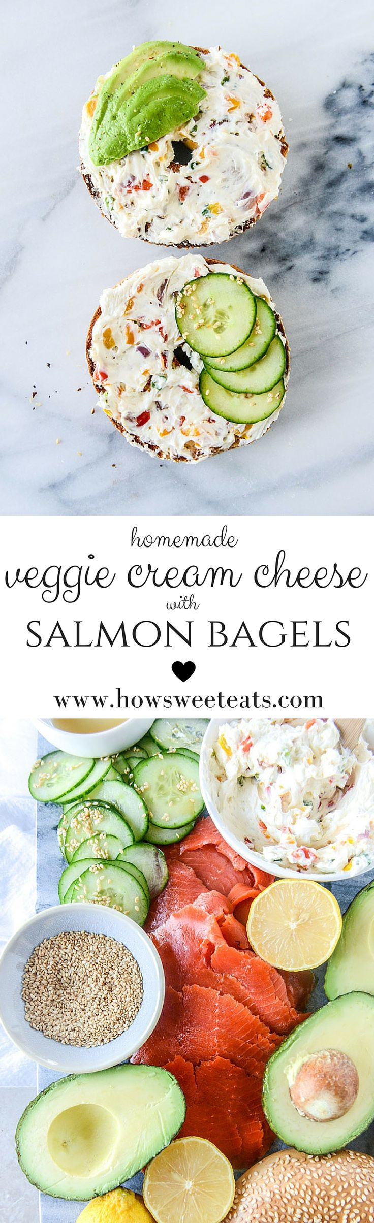 homemade roasted veggie cream cheese with my favorite lox bagel I howsweeteats.com