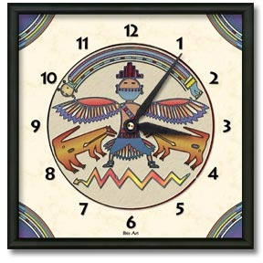 Rainbow Man Square Metal Wall Clock - From our Southwestern Clocks category, this clock features a Native American pictogram Thunderbird symbol.  $50.00