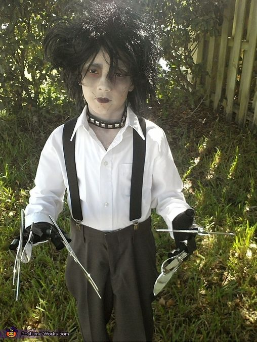 Mareah: Jaiden age 9 inspired by the movie Edward scissor hands. Long hair wig that i cut short and messy looking, old pair of dress pants, old white collar shirt and...