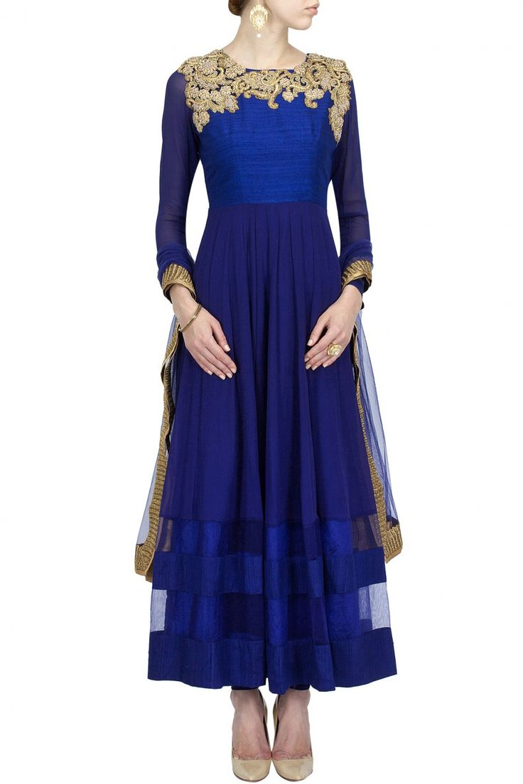 Oxford blue embroidered kurta set BY ANEESH AGARWAAL. Shop now at perniaspopupshop.com Love this for temple