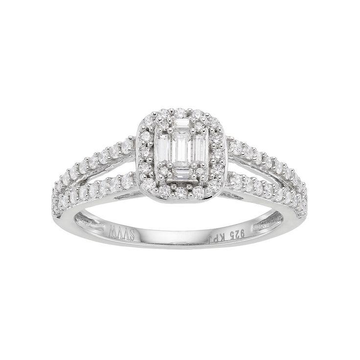 Simply Vera Vera Wang 14k White Gold 1/2 Carat T.W. Diamond Cluster Halo Engagement Ring, Women's, Size: