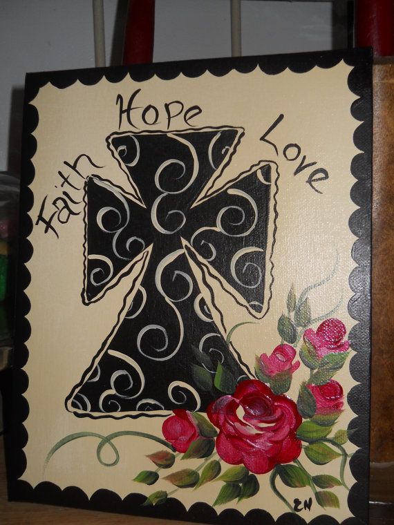 Hand Painted Cross on 8 x 10 canvas  Faith Hope Love with roses on a cream color background via Etsy