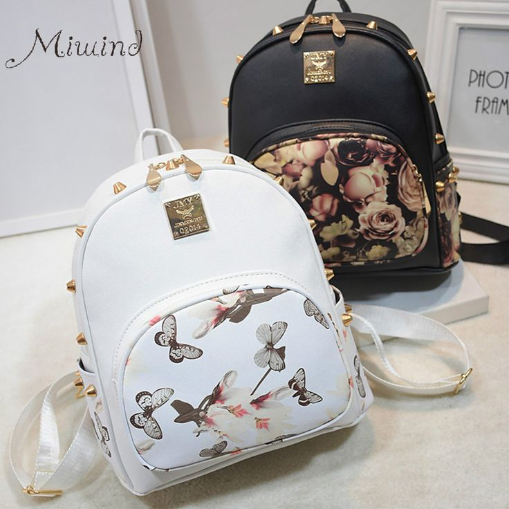 Women Backpacks 3D Printing Floral PU Leather Rivet Backpack Female Trendy Designer School Bags Teenagers Girls Travel Mochilas