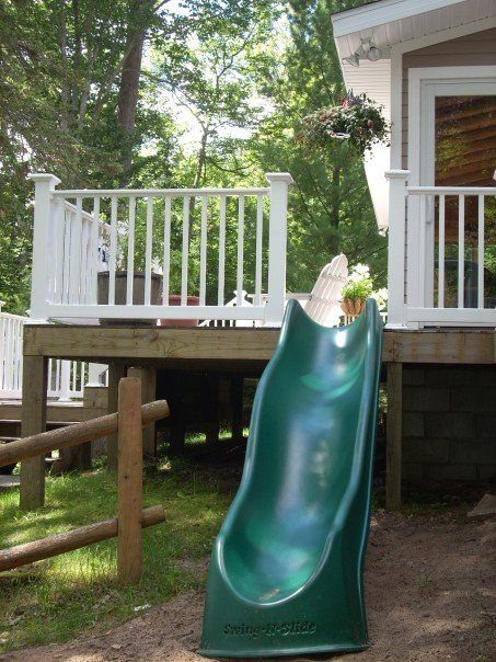 Slide off the side of the Lake House deck (family cottage on Lake Michigan) - my photo.....only mod it so us grown ups can go down it too! (bahahaha this is a fantastic idea!!!)
