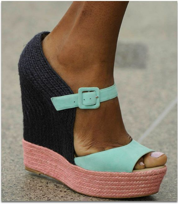: Fashion Shoes, Style, Color Combos, Mary Katrantzou, Summer Color, Color Blocks, Cute Wedges, Wedges Shoes, Summer Wedges