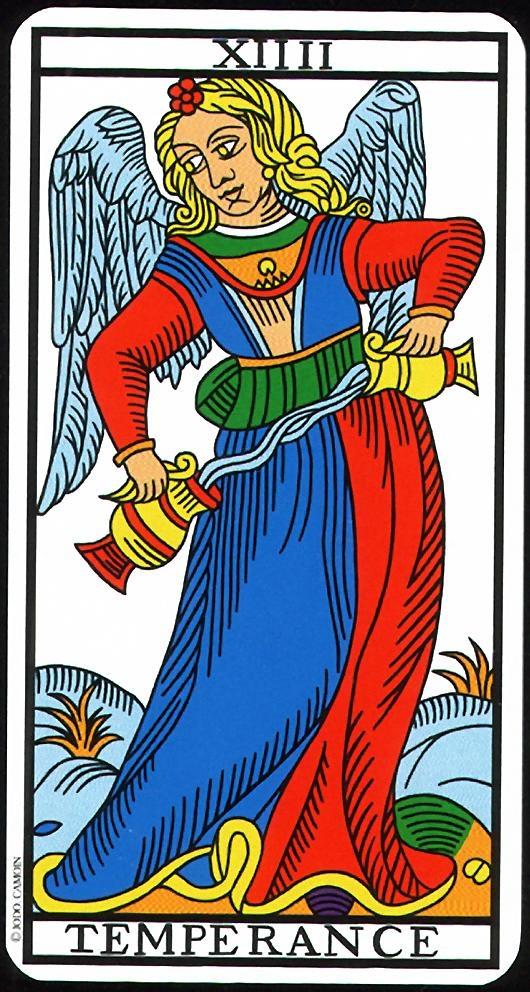 The Temperance - XIV - Major Arcana   Tarot de Marseille (Camoin-Jodorowsky)