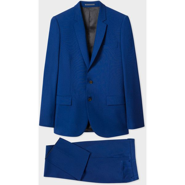 PS Paul Smith Men's Mid-Fit Indigo Blue Wool Suit (501,955 KRW) ❤ liked on Polyvore featuring men's fashion, men's clothing, men's suits, blue, men's apparel, merino wool mens clothing, mens suits, mens clothing and mens wool suits