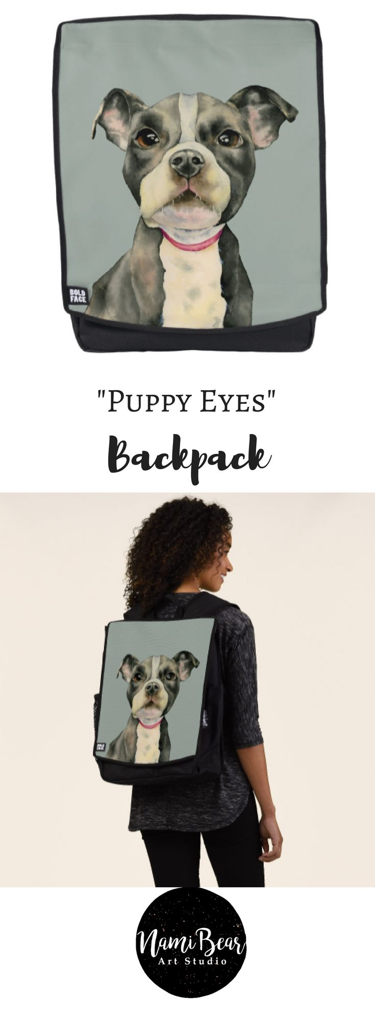 """""""Puppy Eyes"""" Pit Bull Dog Watercolor Painting Backpack This is a watercolor painting of a black and white pit bull puppy. It is a close up of the dog with large hopeful looking eyes. This was painted on Arched hot pressed paper with Daniel Smith watercolor paints. #dog #dogs #dogLovers #pet #pets #illustrations #illustration #gift #gifts #giftideas #giftforher #animal #animals #puppy #puppies #pitbull #pitbulls"""
