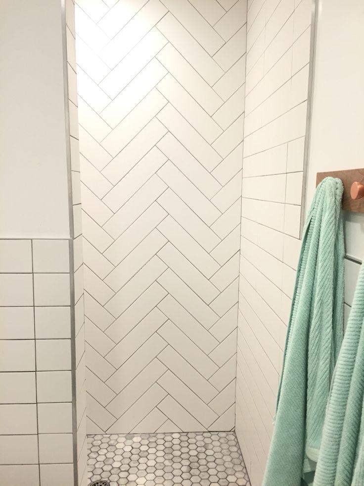 Master shower. Herringbone tile & Straight lay tile. Walk ...