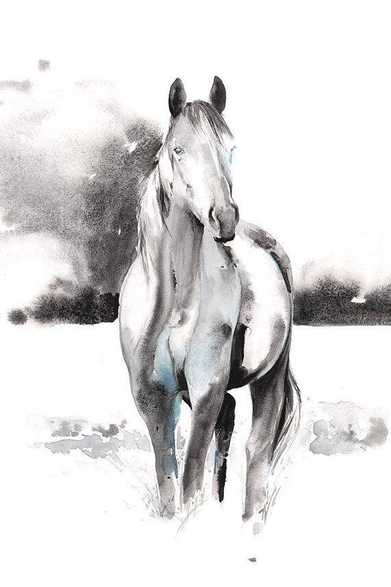 Horse Print Horse Art Print of Watercolor by Cate Parr at silverridgestudio - Etsy