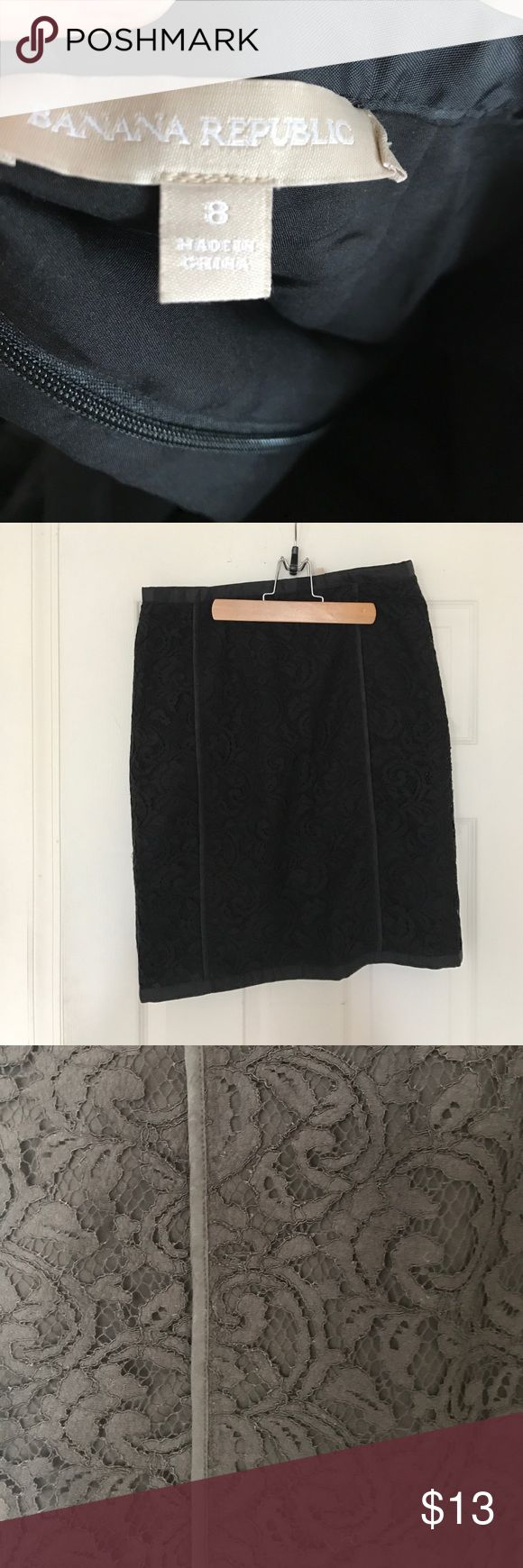 Banana Republic Black Lace Pencil Skirt Banana Republic Black lace pencil skirt. Size 8. Banana Republic Skirts Pencil