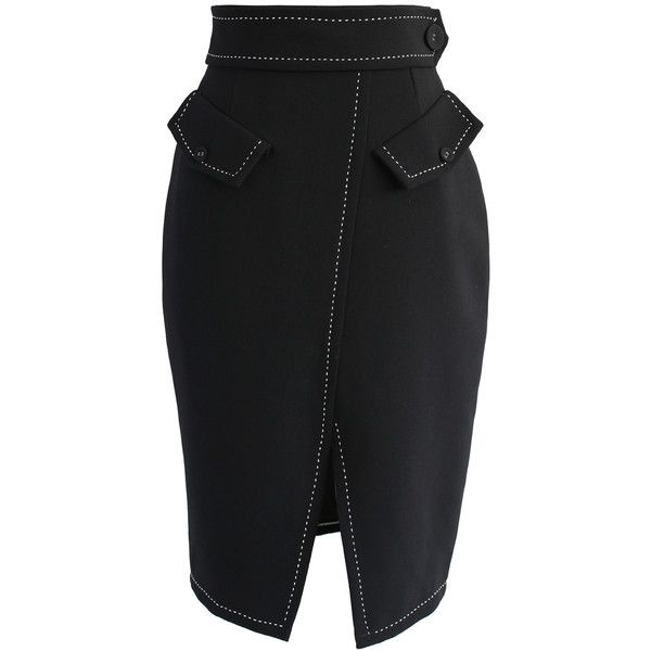 Chicwish Faddish Maven Pencil Skirt in Black (150 BRL) ❤ liked on Polyvore featuring skirts, black, pencil skirts, pocket skirt, faux-leather skirts, knee length pencil skirt and faux-leather pencil skirts