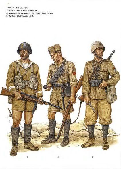 """Regio Esercito, Libia, 1942 - 1 Marò del """"Battaglione San Marco"""" - 2 Caporal maggiore 27o Rgmt fanteria, Divisione """"Pavia"""" - 3 Soldato, 3o Battaglione Guastatori"""