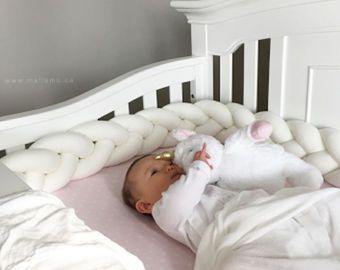 Amortiguador de la felpa trenzado - parachoques de la cuna (cuna almohada nudo, parachoques de la cuna, ropa de cama, sábanas de cuna, guardería, nueva madres regalo del día de regalos de bebé)