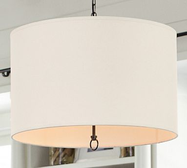Linen Drum Pendant #potterybarn---I love this trestle able with the slip covered chairs and the built ins behind!
