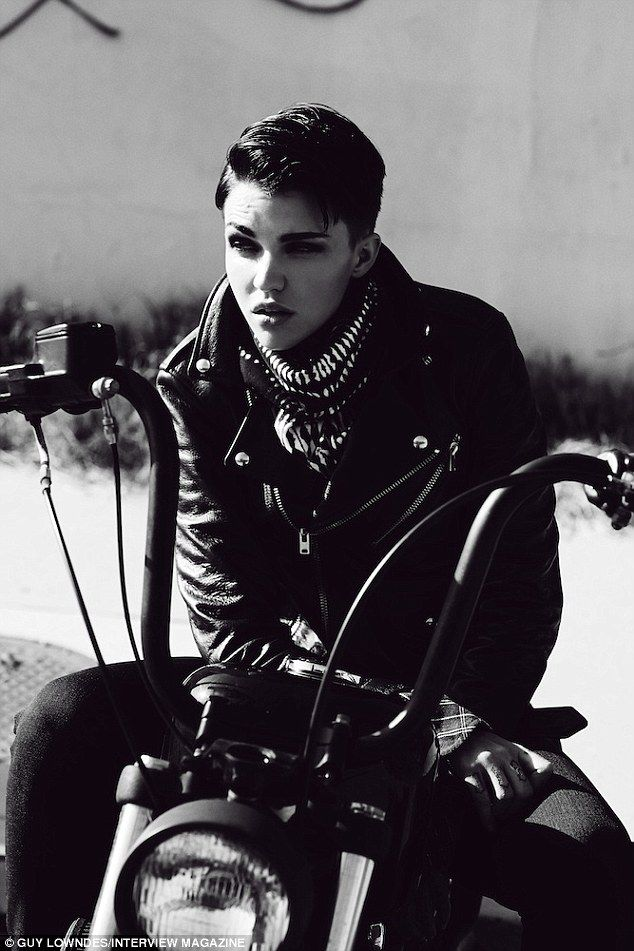 Va Va Vroom! Ruby Rose slipped into some sexy skintight leathers and hopped on a motorcycle as she kicked up some dust for a new shoot with Interview magazine