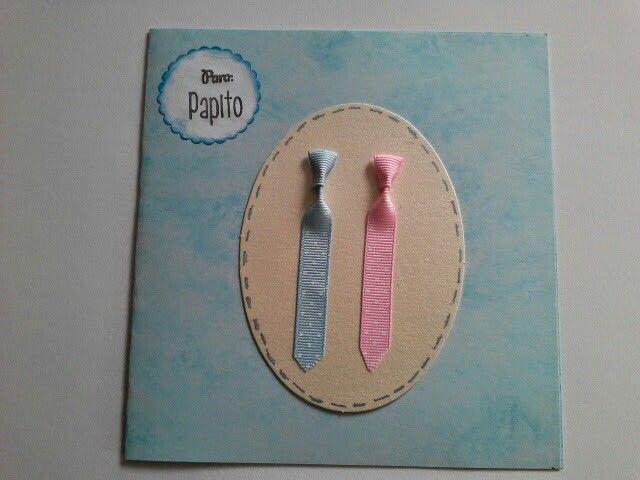 Tarjeta  Azul  con  Corbatas  Azul y Rosa.